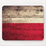 Old Wooden Poland Flag Mouse Pad