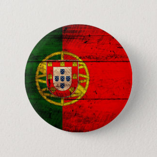 Old Wooden Portugal Flag 6 Cm Round Badge