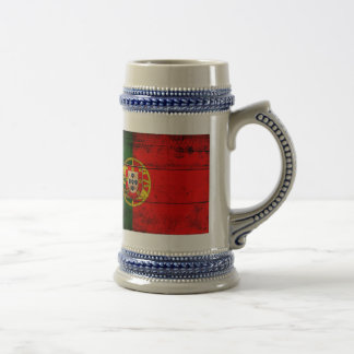 Old Wooden Portugal Flag Beer Stein