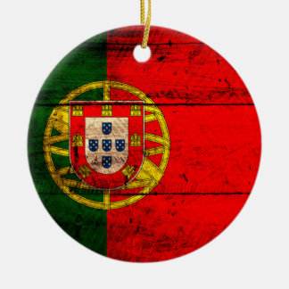 Old Wooden Portugal Flag Christmas Ornament