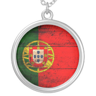 Old Wooden Portugal Flag Silver Plated Necklace