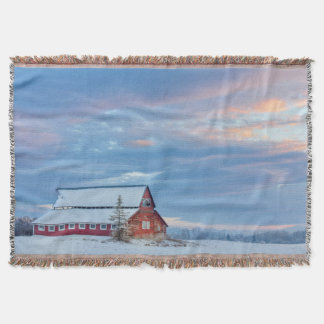 Old Wooden Red Barn In The Lower Valley Throw Blanket