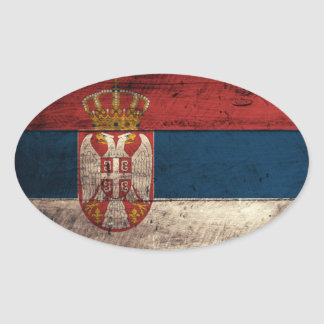 Old Wooden Serbia Flag Oval Sticker