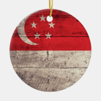 Old Wooden Singapore Flag Round Ceramic Decoration
