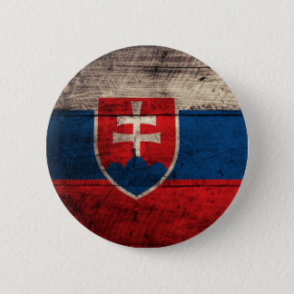 Old Wooden Slovakia Flag 6 Cm Round Badge
