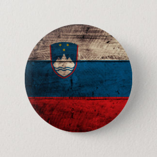 Old Wooden Slovenia Flag 6 Cm Round Badge