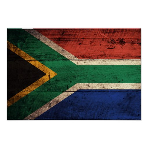 Old Wooden South Africa Flag Print