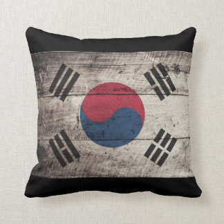 Old Wooden South Korea Flag Cushion