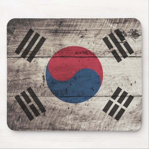Old Wooden South Korean Flag Mousepads