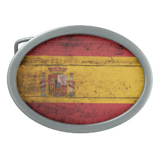 Old Wooden Spain Flag Oval Belt Buckle