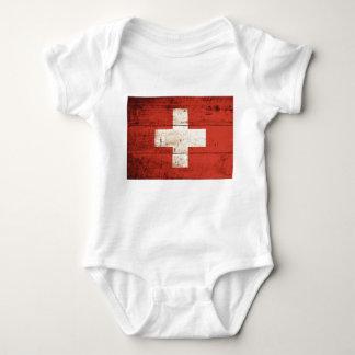Old Wooden Swiss Flag Baby Bodysuit