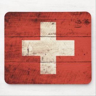 Old Wooden Swiss Flag Mouse Mat