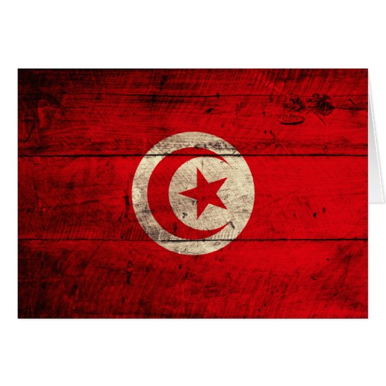 Old Wooden Tunisia Flag Card