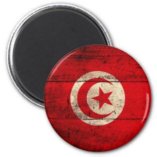 Old Wooden Tunisia Flag 6 Cm Round Magnet