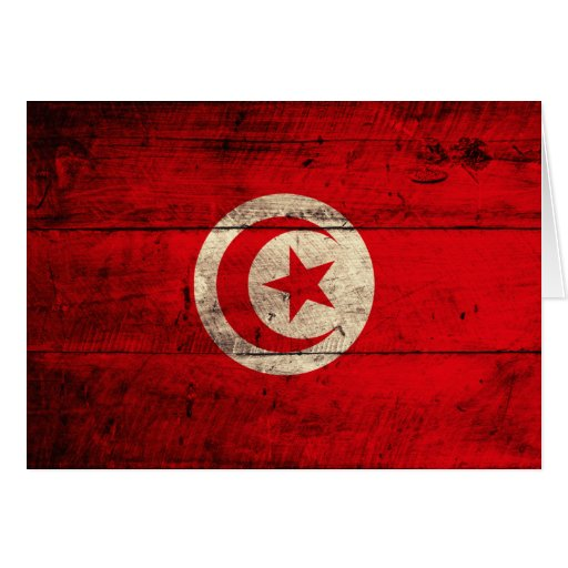 Old Wooden Tunisia Flag Note Card
