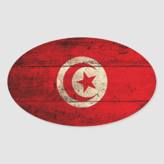 Old Wooden Tunisia Flag Oval Sticker