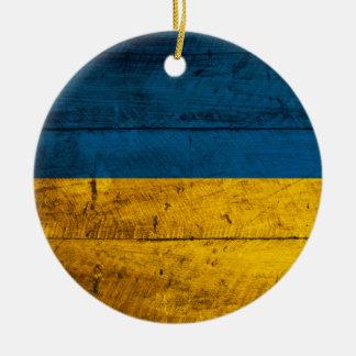 Old Wooden Ukraine Flag Christmas Ornament