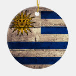Old Wooden Uruguay Flag Christmas Ornaments