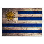 Old Wooden Uruguay Flag Greeting Card