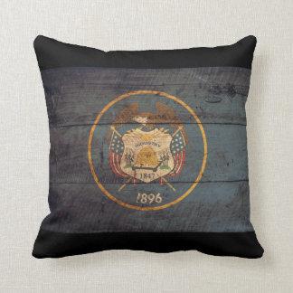 Old Wooden Utah Flag; Cushion