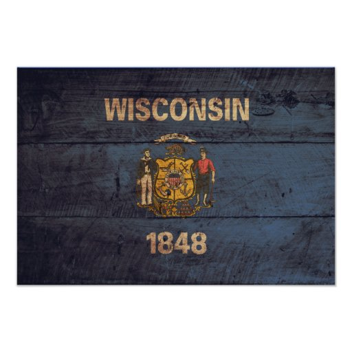 Old Wooden Wisconsin Flag Poster