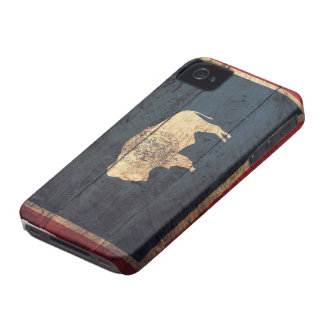 Old Wooden Wyoming Flag iPhone 4 Case-Mate Cases