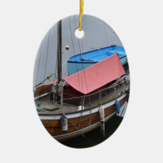 Old wooden yacht ceramic oval decoration