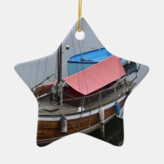 Old wooden yacht christmas ornament