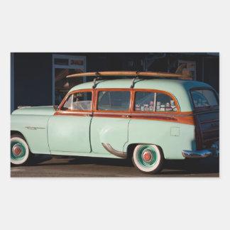 Old Woody Pontiac Rectangular Sticker