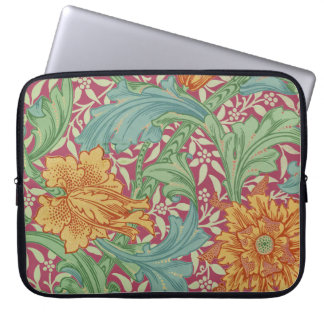 Old World Charm With Orange Flowers For Laptops Laptop Computer Sleeve
