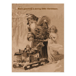 old world christmas greeting postcard