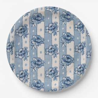 Old World Classic Blue Ivory Floral | Paper Plates 9 Inch Paper Plate