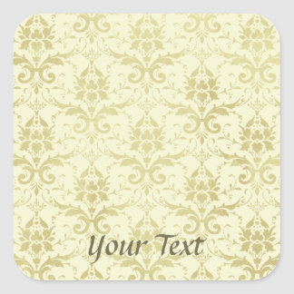 Old World Damask Pattern Square Sticker