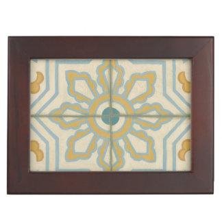 Old World Decorative Tile Pattern Keepsake Box
