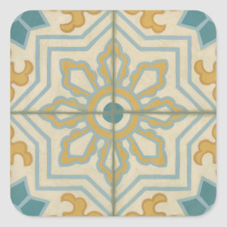 Old World Decorative Tile Pattern Square Sticker