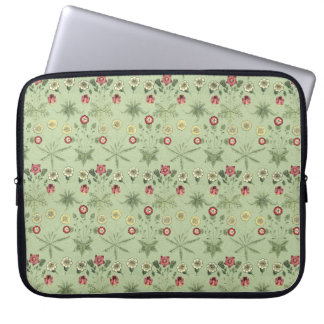 Old World Design Daisies In Mint Green Laptop Sleeve