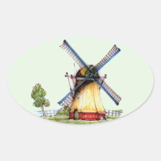 Old World Dutch Windmill Oval Sticker