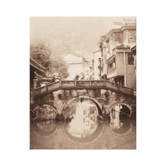 Old world European bridge on canvas wall art