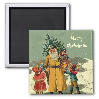 old world father christmas art square magnet