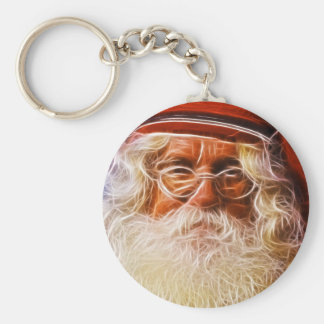Old World Father Christmas Santa Claus Portrait Basic Round Button Key Ring