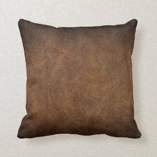 Old World Faux Leather Throw Pillow