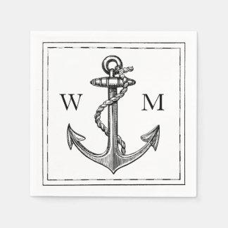 Old World Journey Nautical Anchor Monogram Disposable Napkins