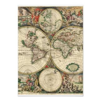 Old world map 13 cm x 18 cm invitation card