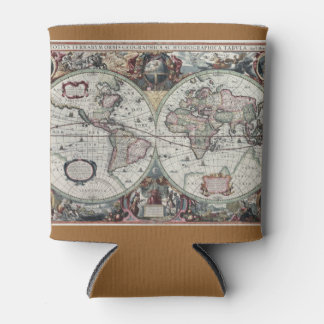 Old World Map 1630 Can Cooler