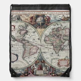 Old World Map 1630 Drawstring Bag
