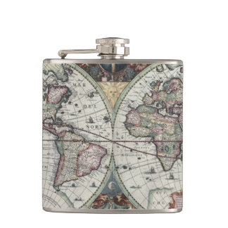 Old World Map 1630 Hip Flask