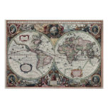 Old World Map 1630 Poster