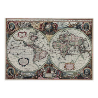 Old World Map 1630 Posters