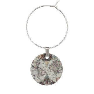 Old World Map 1630 Wine Charm