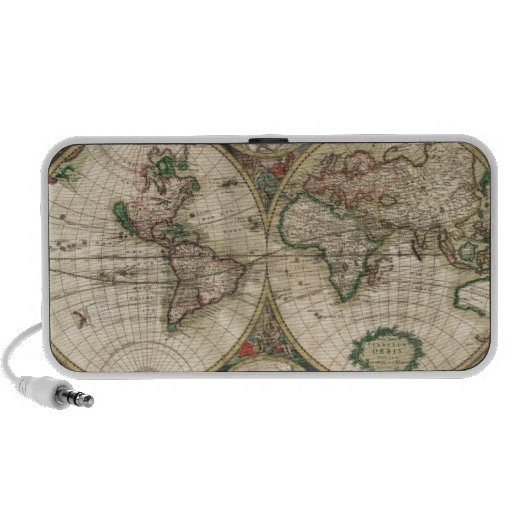 Old World map 1689 Portable Speakers